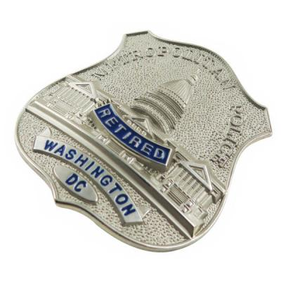 Wholesale 3D Metal Police Badge In Satin Nickel Plating