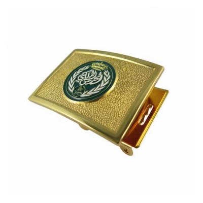 Stamped Bronze Soft Enamel Belt Buckle With Gold Plated