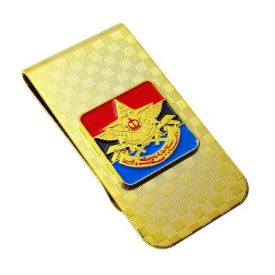 Custom Engraved Texture Money Clip With Coloring In Gold Plating