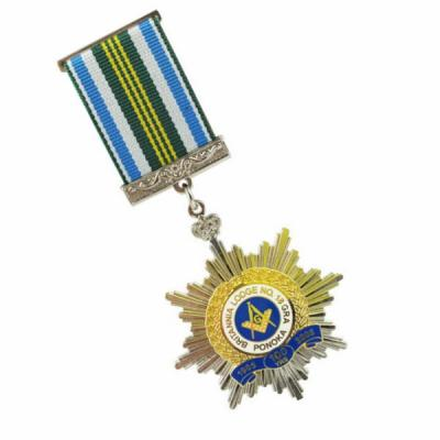 High Quality Two Tone Plating Military Award Medal With Ribbon Bar