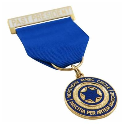 Unique Design Metal Medal With Blue Short Ribbon Drape