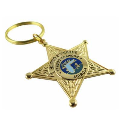 Imitation Hard Enamel Color Filling Keychain With Star Design For Sheriff'S Office