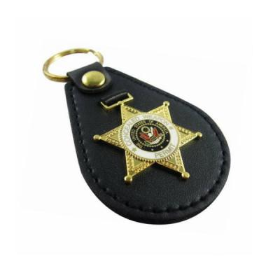 Military OEM Design Leather Key Fob With Gold Plating And Metal Log
