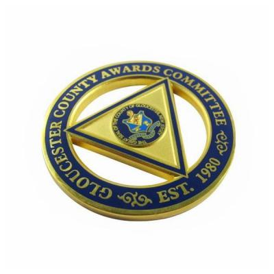 Imitation Hard Enamel Metal Military Challenge Coin With Gold Plating
