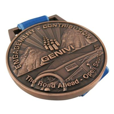 Embossed Antique Copper Sports Opening Medal With Ribbon