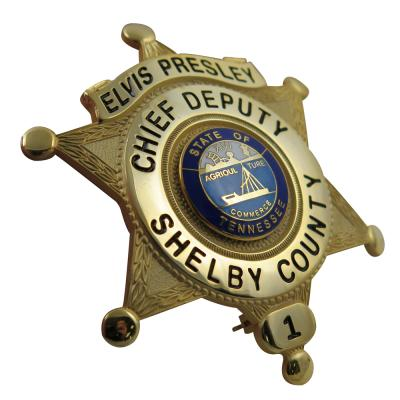 Star Shape Enamel Deputy Badge With Safety Pin