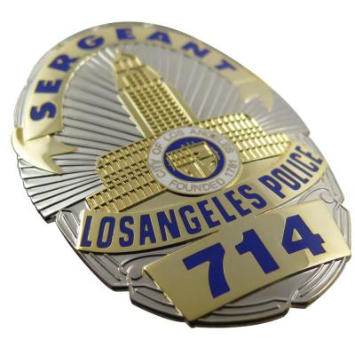 Two Tone Plating  Enamel Police Badge