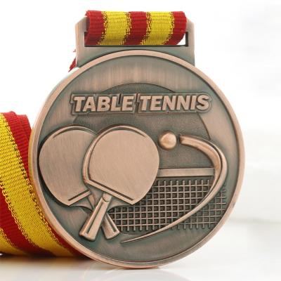 Custom Table Tennis Medal In Gold/Silver/Copper Plating With Ribbon