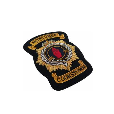 Custom Military Uniform Accessory Gold And Silver Metallic Wire Bullion Badges